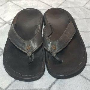 B31 Olukai Ohana Flip Flop Sandals Size 43 Black